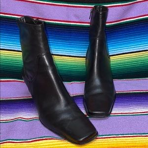 Diba square toe black heeled boots made in Brazil